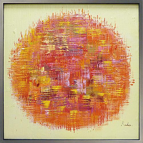 【額入り】1枚ずつ丁寧に手描きしたオイルペイント絵画作品 暖かの伝わる抽象デザイン 絵画