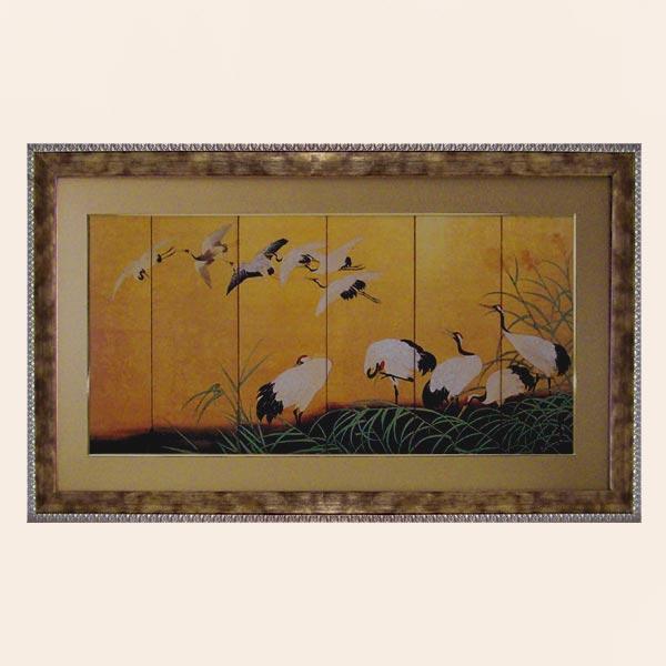 絵画 鶴の舞い 高嵩谷日本を代表する歴史的絵師 つる を描いた豪華で大きなモダンアート作品 和柄 和風の絵画 リビング 和室 ホテルに飾る アート ディスプレイ
