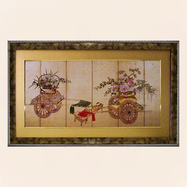 絵画 和モダン オリエンタルアート花ぐるま 高 嵩峪 (こうすうこく) 日本を代表する歴史的絵師 豪華で大きなモダンアート作品 和柄 和風 の絵画 リビング 和室 マンション ホテルに飾る アート ディスプレイ