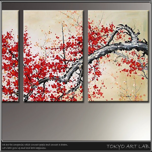 Group Of Picture Interior Wall Hangings Picture W150cm Three Pieces Flower Piece Japanese Style Of The Stylish Picture Oil Painting Japanese Modern
