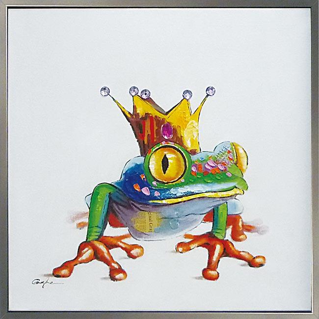絵画 油絵【かえるのおうさま】カラフルな色合いで空間をパッと明るく存在感抜群 空間にユニークな彩りをお子様の集まる店舗や施設向にも。 額付き 黄色 yellow カエル