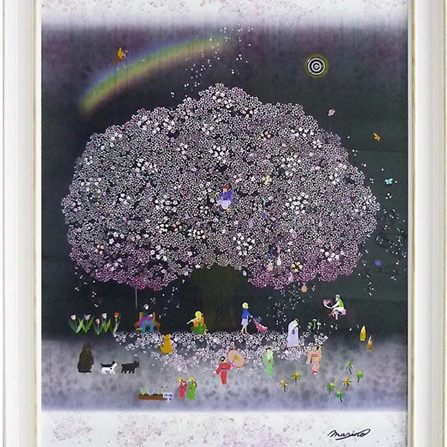 【春 ウララ】 桜「鮮やかな色彩と和洋折衷の遊び心を・・」ラメチップ入りゲル加工 アートフレーム女性作家 なかの まりの【アート 壁掛け】業務用【アートポスター】 額付き 紫 パープル