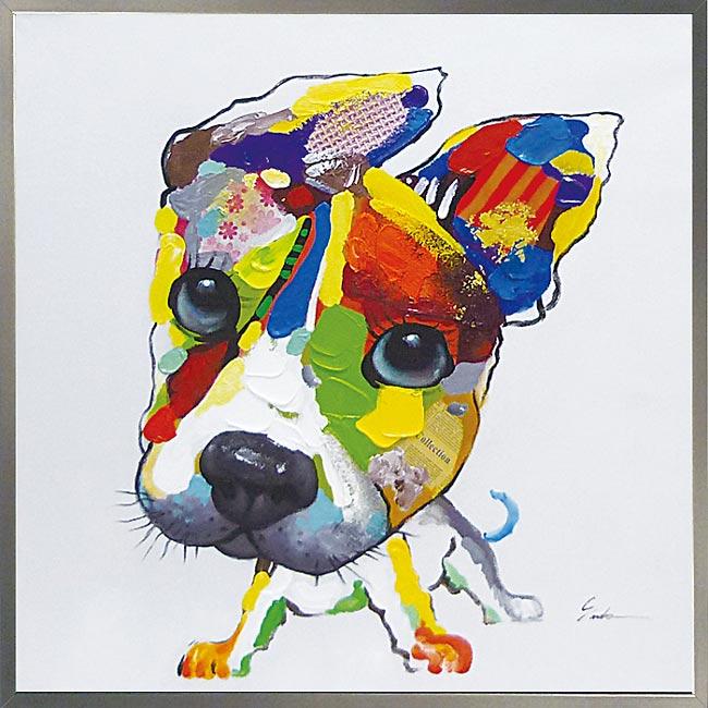 絵画 H830mm W830mmダイナミックな壁掛けインテリアかわいいワンコ・フクロウ・クマの絵 額付き 「ドッグシリーズ-6」かわいい 犬の絵 壁掛け