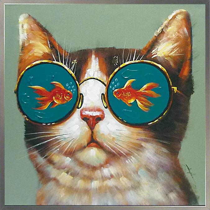 絵画 H830mm W830mmダイナミックな壁掛けインテリアかわいい猫ちゃん・ワンコ・フクロウ・クマの絵 額付き 人気の絵画!スタッフおすすめ♪『金魚 眼鏡』猫 金魚 赤