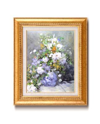 ルノアール(ルノワール)金の額 王道の6号サイズ 複製画 洋画 有名な絵画 油絵お任せ下さい!初めての絵画購入「ルノアール 花瓶の花」複製画