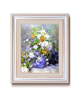 ルノアール(ルノワール)銀の額 王道の6号サイズ 複製画 洋画 有名な絵画 油絵お任せ下さい!初めての絵画購入「ルノアール 花瓶の花」複製画