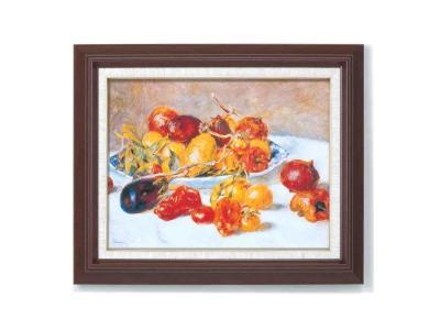 ルノアール(ルノワール)木の額 重厚な6号サイズ 複製画 洋画 有名な絵画 油絵お任せ下さい!初めての絵画購入「ルノアール 南仏の果実」複製画