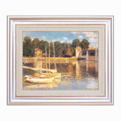 【初めての絵画】光の画家モネ(Claude Monet)銀の額 万能の6号サイズ 複製画 洋画 有名な絵画 油絵お任せ下さい!初めての絵画購入【アルジャンゥイユの橋】