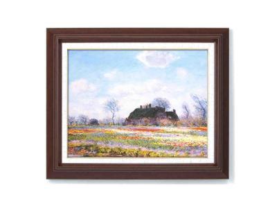 【初めての絵画】光の画家モネ(Claude Monet)木の額装 万能の6号サイズ 複製画 洋画 有名な絵画 油絵お任せ下さい!初めての絵画購入「モネ 花畑」複製画