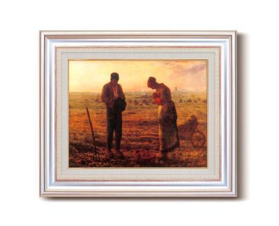 【初めての絵画】ミレー『晩鐘』銀の額 飽きの来ない6号サイズ 複製画 洋画 有名な絵画 油絵ミレー 【晩鐘-ばんしょう】複製画