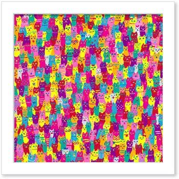 猫だらけ【aisayama(佐山愛)】アートフレーム絵壁掛けインテリアおしゃれ額入り絵画アートポスターかわいい玄関飾り【アーティスト特集】