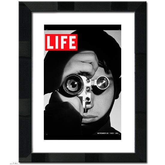 FOCUSブラックメタリック 日本製 高級額マット付き アートポスター額付き LIFE (ライフ) ポスター 壁掛け黒 白黒 モノトーン 絵画