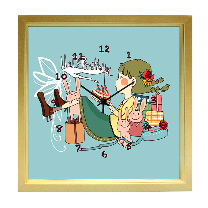 Decorate The Wall Clock Living Door Kitchen HappyBirthday Happy Birthday Fashionable And Cute Gifts Festive To Kuko Be