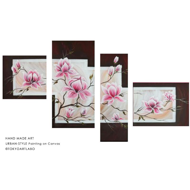 絵画【モクレン蓮の花】壁掛け インテリア 絵 おしゃれ 油絵 W190cm 4枚組 花の絵 和食店の壁 旅館の壁 和モダン 特大