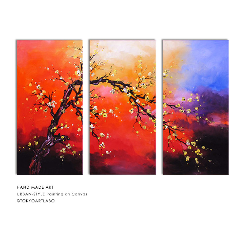 Picture Flower Piece Japanese Style Japanese Modern Art Panel Oil Painting Feng Shui Red Of The Picture Wall Hangings Interior Plum