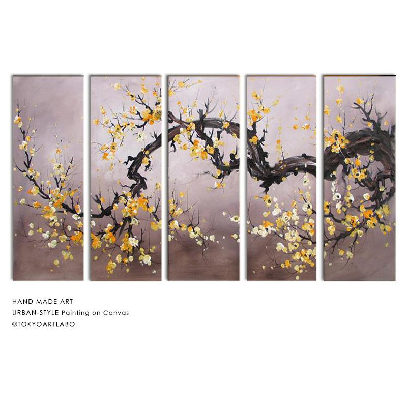 絵画 横長 W125cm 5枚組 花の絵 黄色い花 おしゃれ 壁掛け 絵 リビング 店舗 壁飾り 油彩 和モダンアート 横に長い壁の装飾 大きい絵