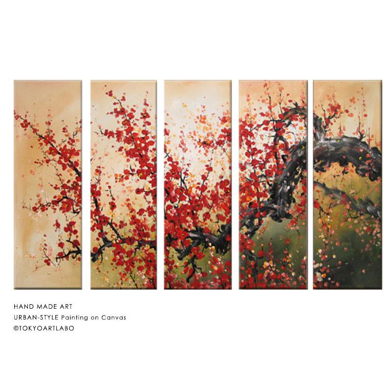 絵画 横長 【紅花】W125cm 5枚組 花の絵 風景 おしゃれ 壁掛け 絵 リビング 店舗 壁飾り 油彩 和モダンアート 横に長い壁の装飾 大きい絵