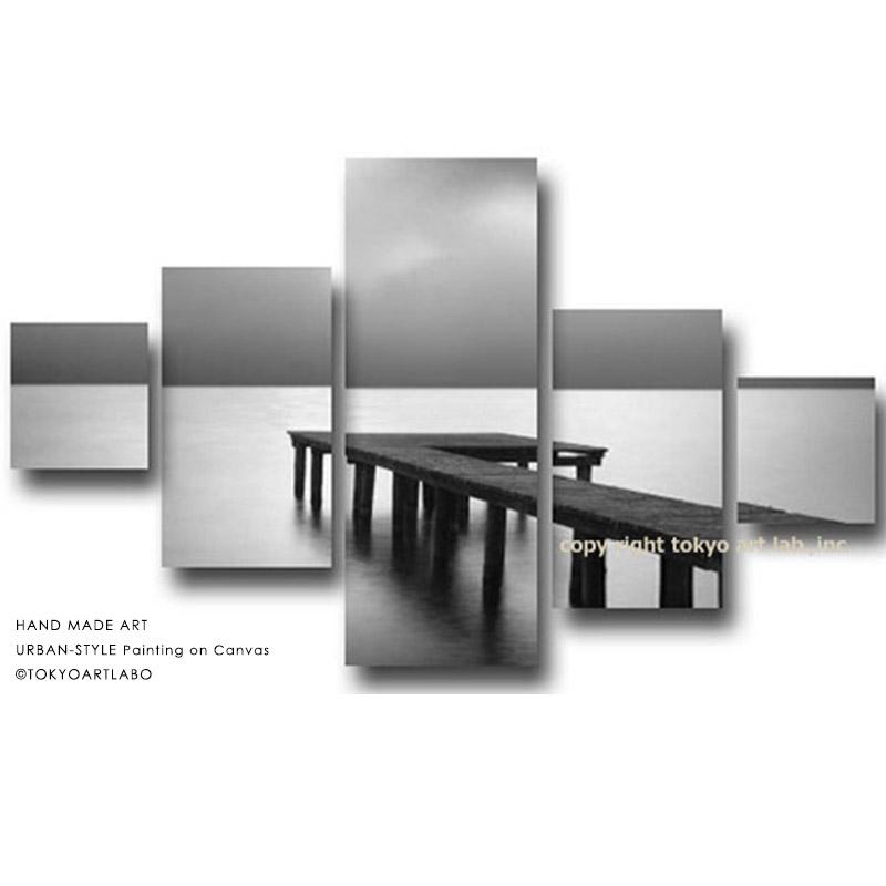 絵画 インテリア 風景画【Silence 静かの海】桟橋の風景 店舗用 新居 新築 モノトーン 5枚組