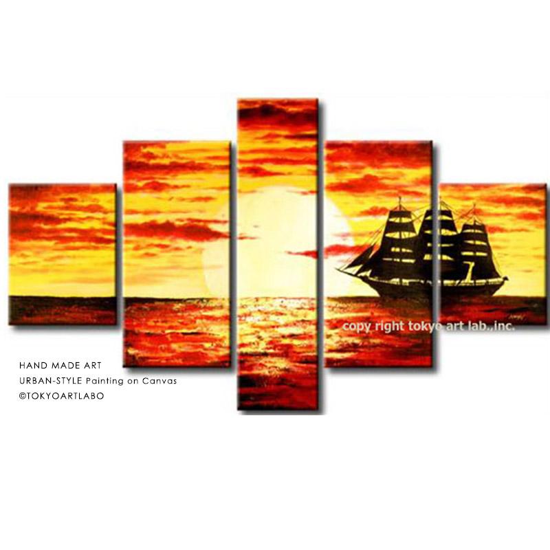 絵画 海 風景画 インテリア 壁掛け 大型 5枚組「大きめでも軽量 分割タイプ 手描きの壁掛けアート」