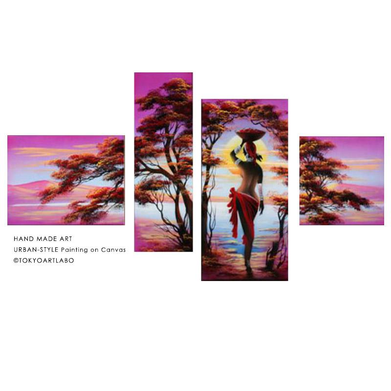 絵画 風景画【LOVE NATURE】壁掛け 絵 おしゃれ インテリア 4枚組 人物画 女性画 スパ サロン バー クラブ