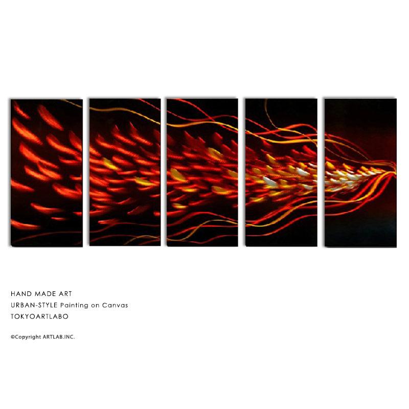 アートパネル モダン アート 絵 麦の抽象 5枚組 W150cm モダンアート おしゃれ 壁掛け 絵 リビング 壁飾り 油彩画 麦穂 麦芽