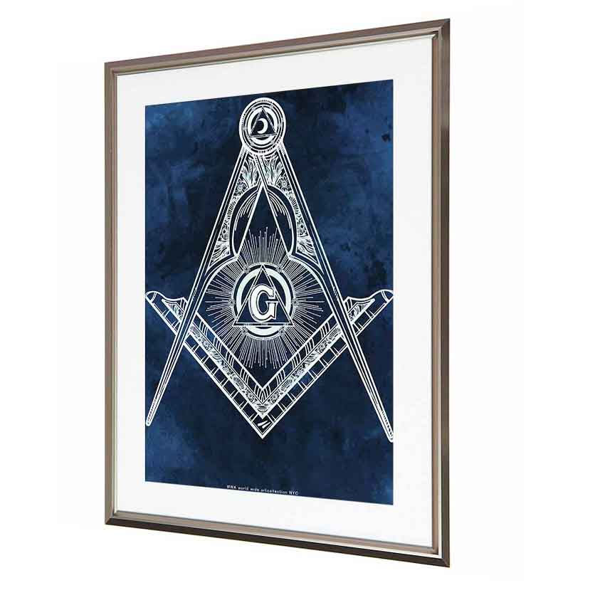 Art poster picture interior /Masonic square and compass / emblem Freemason  compasses symbol new world