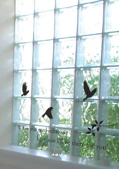 ウォールステッカー 鳥おしゃれ かわいい かっこいい キッチン トイレ 北欧 モノトーン 大型 特大 大きい 大きいサイズ ショーウィンドー ディスプレイ 鏡 ガラス