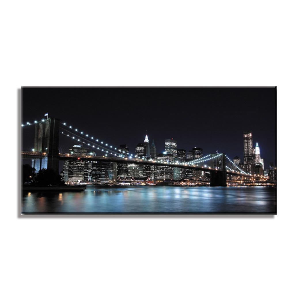 ブルックリンブリッジ アメリカ BrooklynBridgファブリックパネル おしゃれ 絵 壁掛け インテリア インテリアアート 額無し 横長 L 100cm×50cm キャンバスプリント