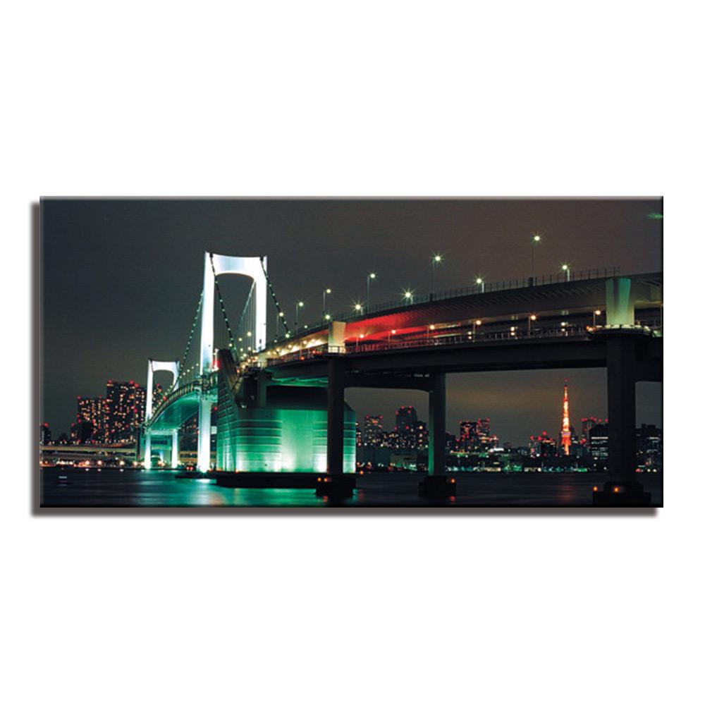 レインボーブリッジ 東京 夜景 Tokyo Rainbow Bridgeファブリックパネル おしゃれ 絵 壁掛け インテリア 額無し 横長 LL 100cm×50cm アートパネル