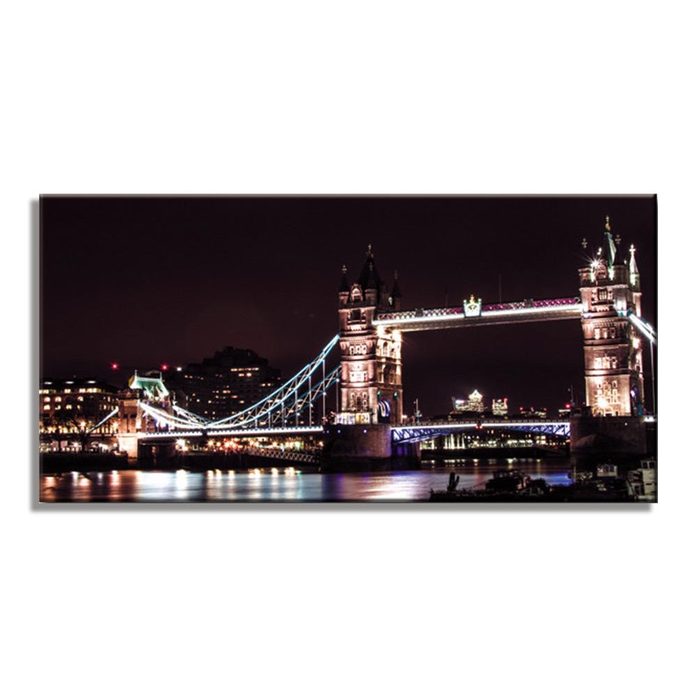 タワーブリッジ ロンドン 夜景 London Tower Bridgeファブリックパネル おしゃれ 絵 壁掛け インテリア 額無し 横長 LL 100cm×50cm アートパネル