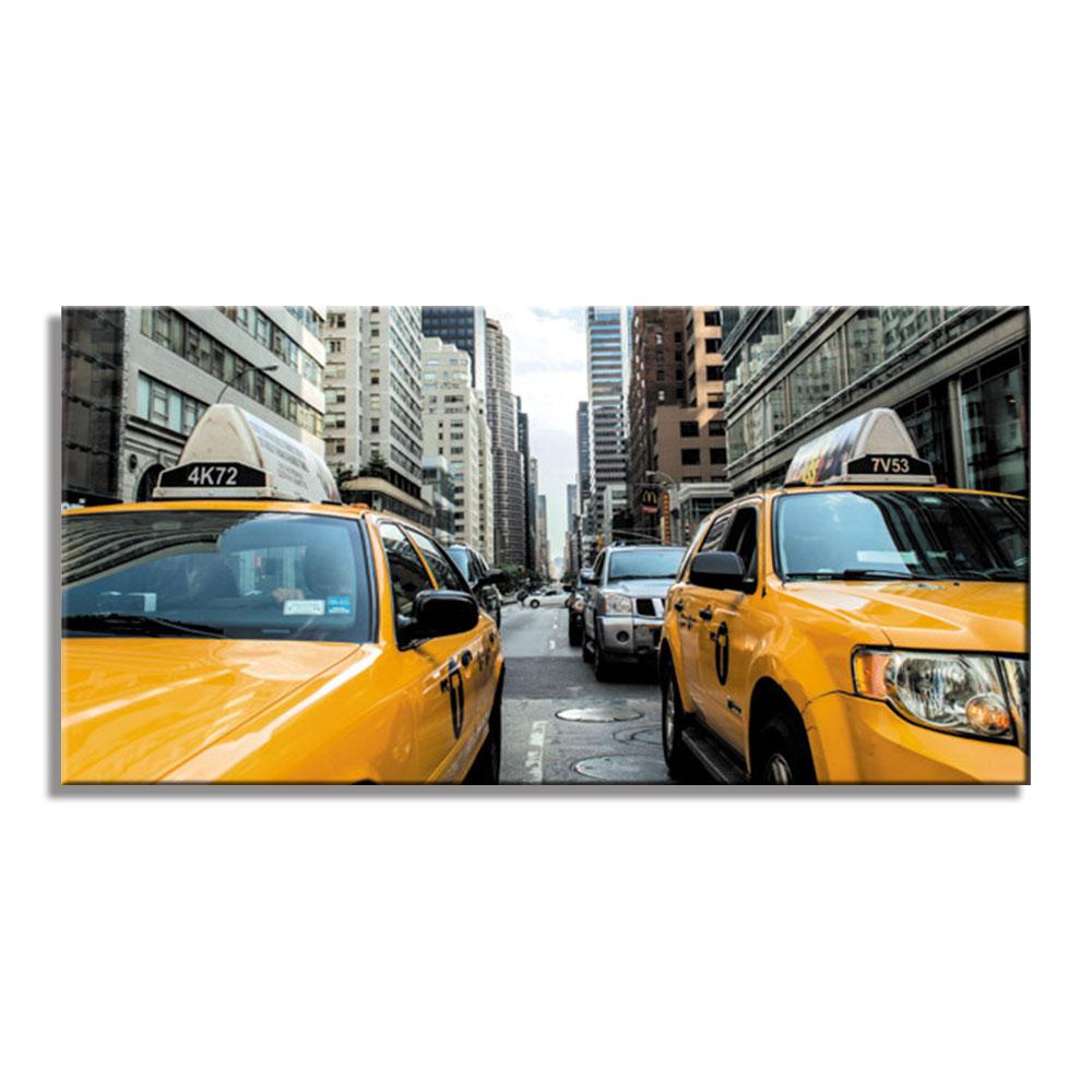 マンハッタン ニューヨーク タクシー イエローキャブ ファブリックパネル おしゃれ 絵 壁掛け インテリア インテリアアート 額無し 横長 LL 100cm×50cm キャンバスプリント