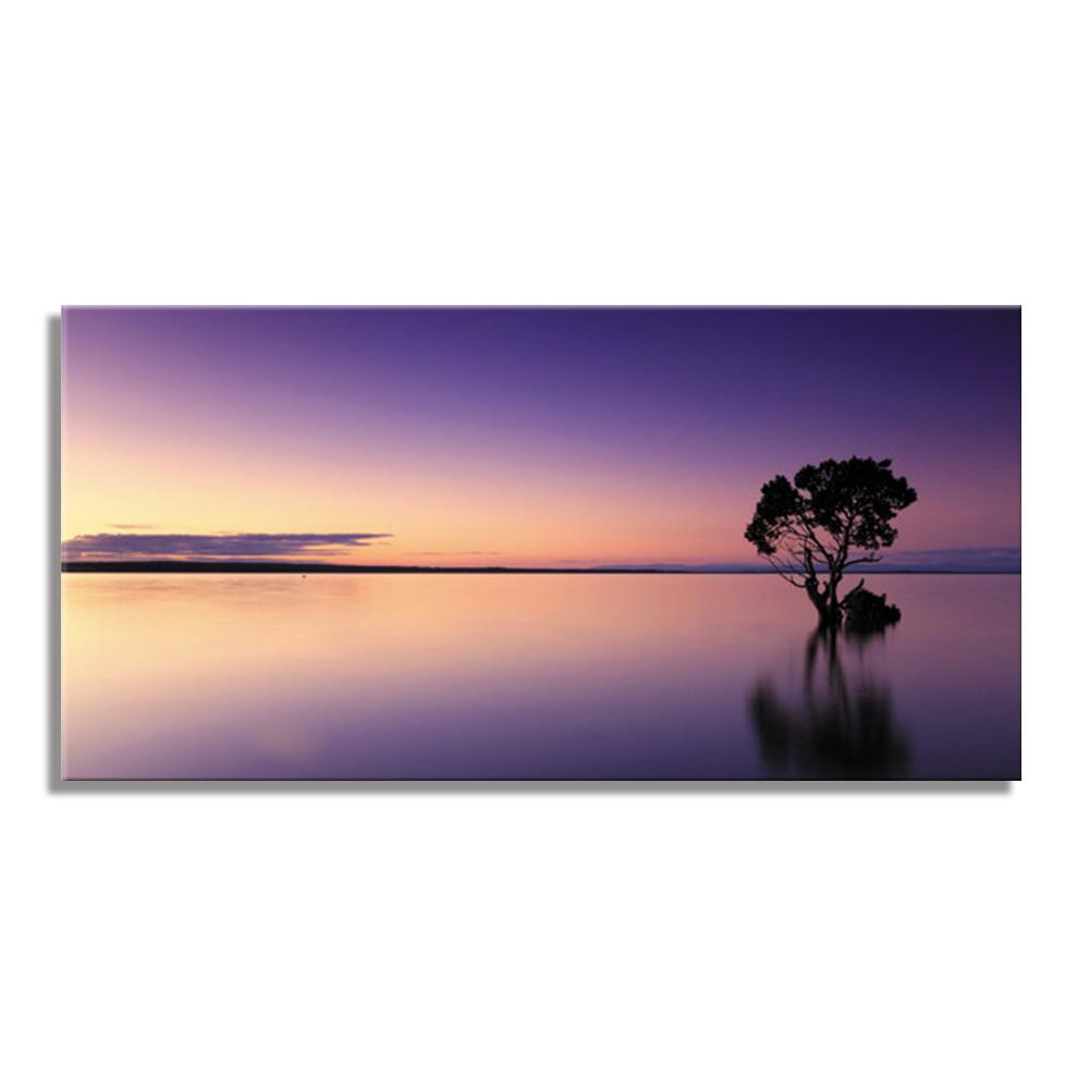 サンセット 日暮れ 夕暮れ 水辺 Sun Setファブリックパネル おしゃれ 絵 壁掛け インテリア 額無し 横長 LL 100cm×50cm キャンバスプリント