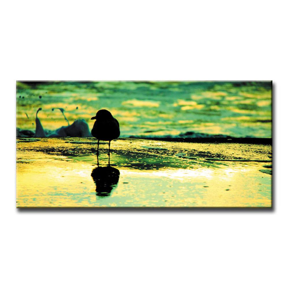 カモメ 海鳥 Seagull シーガルファブリックパネル おしゃれ 絵 壁掛け インテリア インテリアアート 額無し 横長 LL 100cm×50cm キャンバスプリント