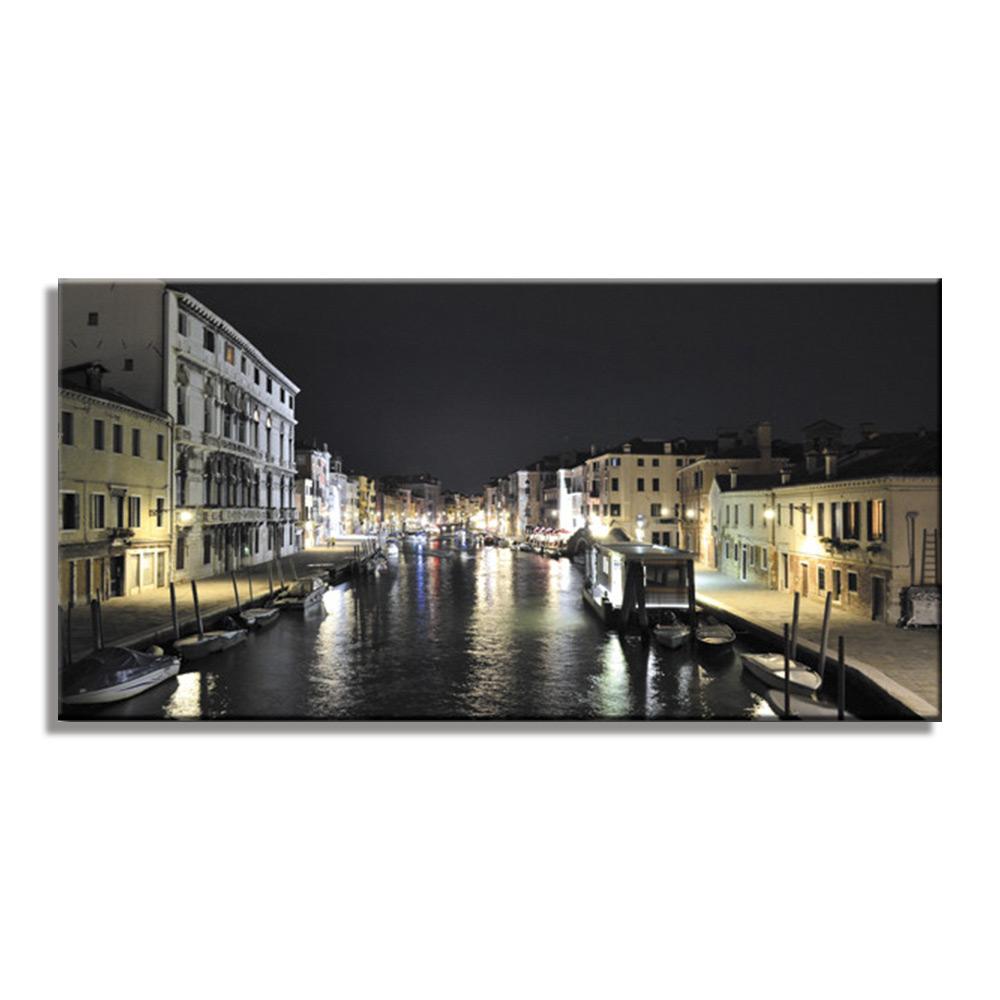 ヴェニス イタリア 夜景 ファブリックパネル おしゃれ 絵 壁掛け インテリア 額無し 横長 LL 100cm×50cm アートパネル ベニス