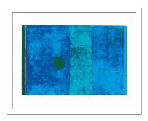絵画 MidCenturyModern 広い室内の壁に飾る大型のアート「海外ブランドインテリアと合わせやすい抽象的なデザイン」 壁掛け 額入り 完成品 大判Patrick-Heron(パトリック ヘロン) BluePainting
