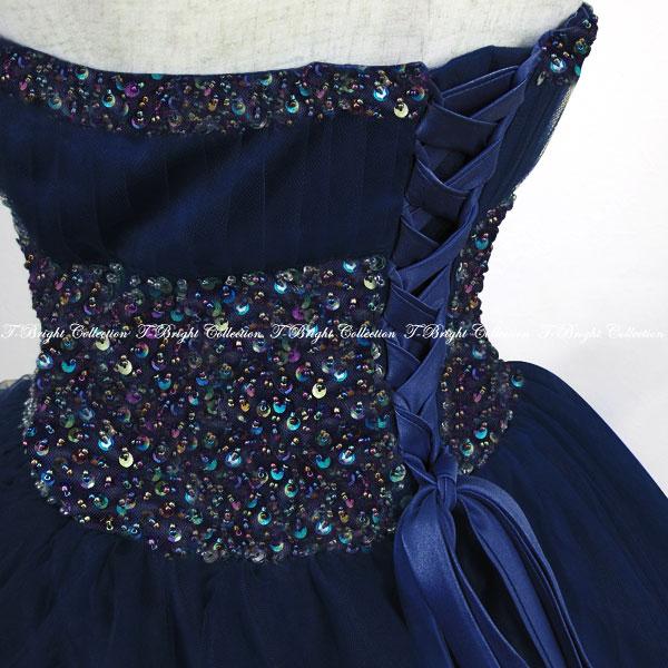 710351bfd23f7 サイズオーダーカラードレスロングネイビー青シンプルビジュープリンセスライン演奏会用ドレス結婚