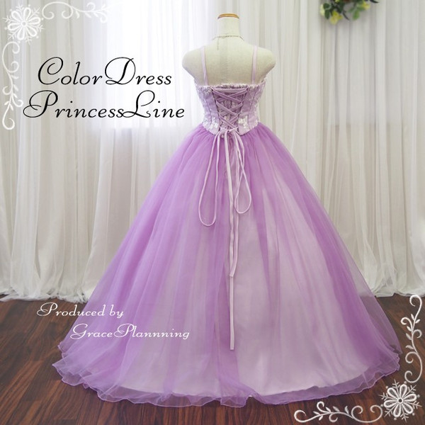 Pure long dress ★ princess line (purple) wedding dress ★ 5-25 ★ size grain size small shark size 30207-od with size order ♪ colored racesless luster