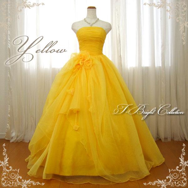 31493aec9f689 サイズ指定 ウェディングや二次会、演奏会用ドレスにどうぞ 花嫁 パーティードレス 黄 ...