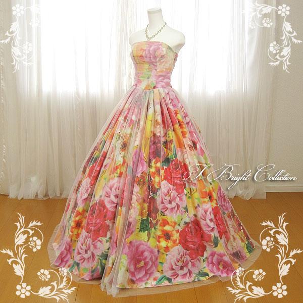 カラードレス 7号9号 (花柄・マルチカラー) 演奏会用ドレス ウエディング ロング プリンセスライン 発表会 花柄プリントが可愛い 背中編み上げドレス ゴムシャーリング 結婚式やフォトウェディング、披露宴にも 18722