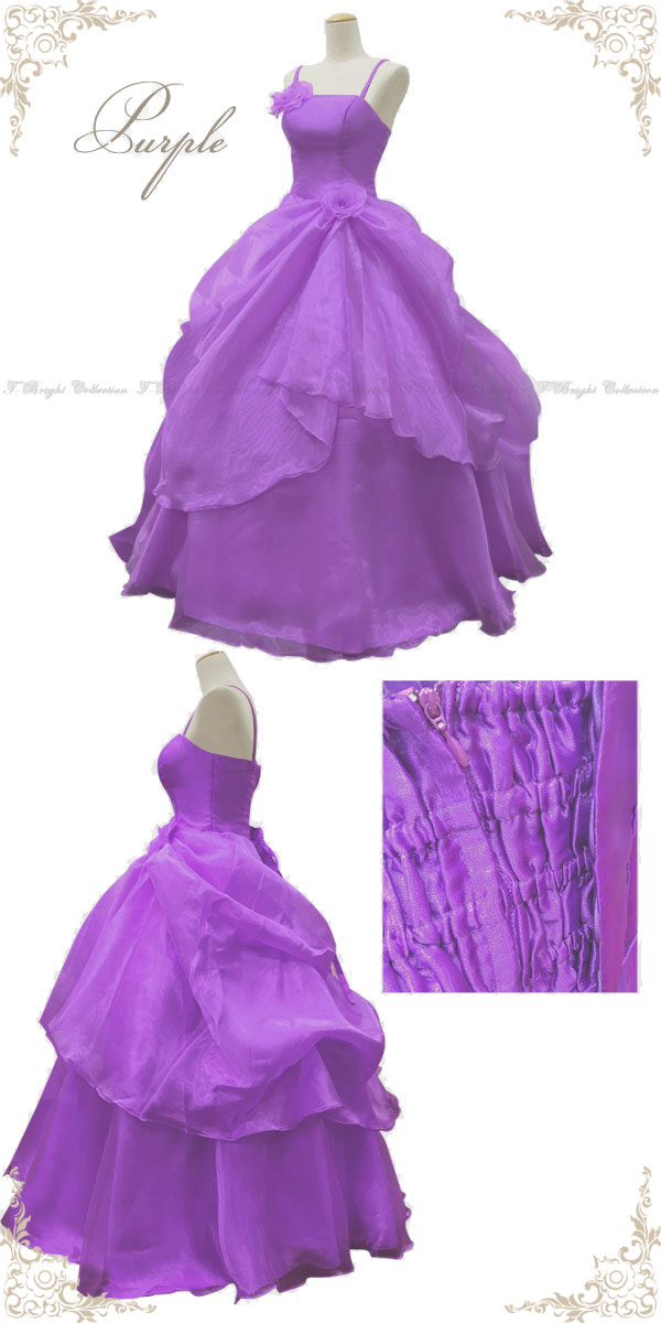 Dress purple back lace-up ♪ Huns instead dress with organza / プリンセスライン / 7,-9 No. 11-no. 13 (light purple) dress / wedding / meeting / playing / party / formal ★ 02142 lp