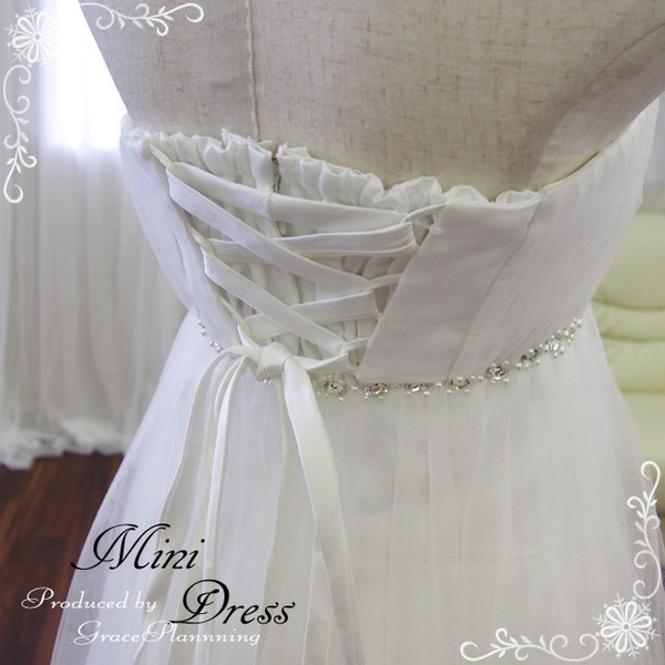 Mini dress (off white)-5-7-9 wedding dress short-length MIME-bride prom dresses wedding abroad wedding parties 30110