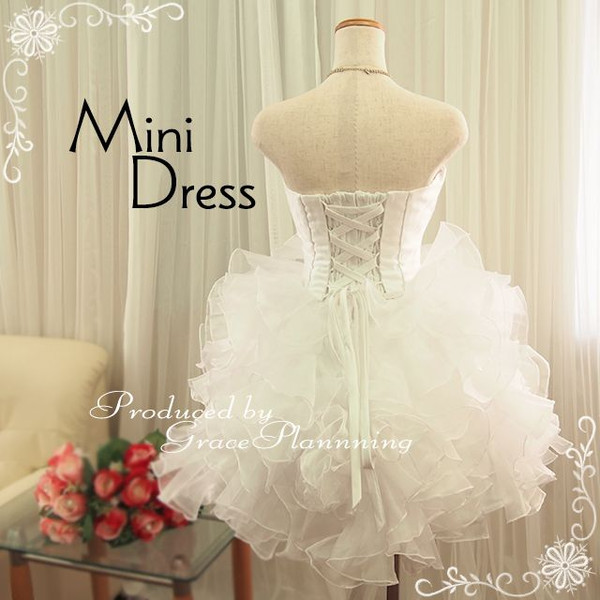 Is a mini dress party dress organza frills fluffy Cute!-back lace-up Minnie wedding ★ medium length ★ No.5-51076-1 No. 7 and no. 7 and no. 9 ~ 11 ★ (white)