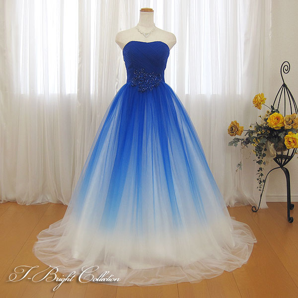 カラードレス 演奏会用ドレス 二次会 花嫁 (ブルー×ホワイト)7号9号11号13号15号 ビーズとスパンコールがきらめくウエストにスカートのグラデーションが美しいドレス 大人 ロングドレス 発表会 プリンセスライン Aライン 青×白 01070