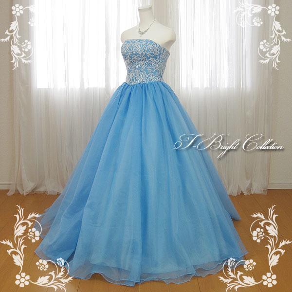 【改良しました】カラードレス 7号9号 (ライトブルー) 演奏会用ドレス ウエディング ロング プリンセスライン ビスチェの刺繍が可愛い 背中編み上げドレス シャーリング (mss) 74009