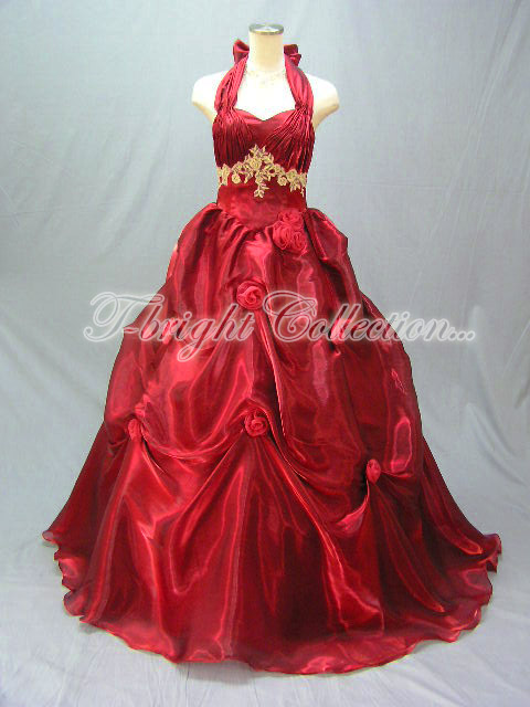 Custom shiny shiny material Halter neck dress ★ Princess ★ (wine red) E5044