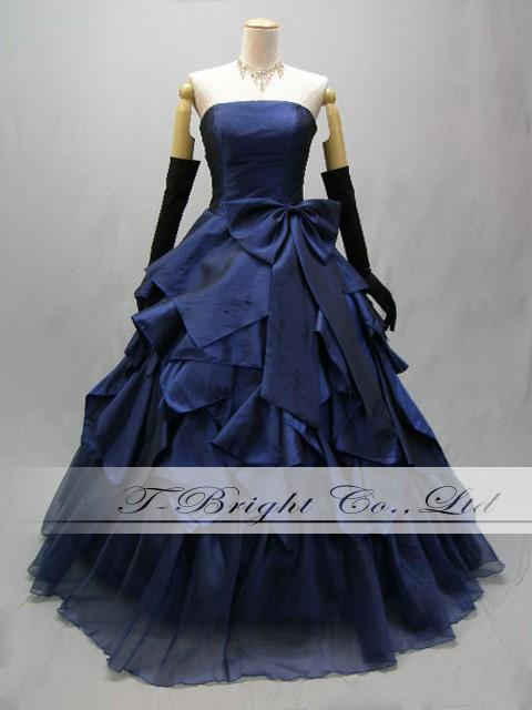 Size order back lace & long dress ★ 52893 koshimoto Ribbon dress ★ Princess ★ (blue)