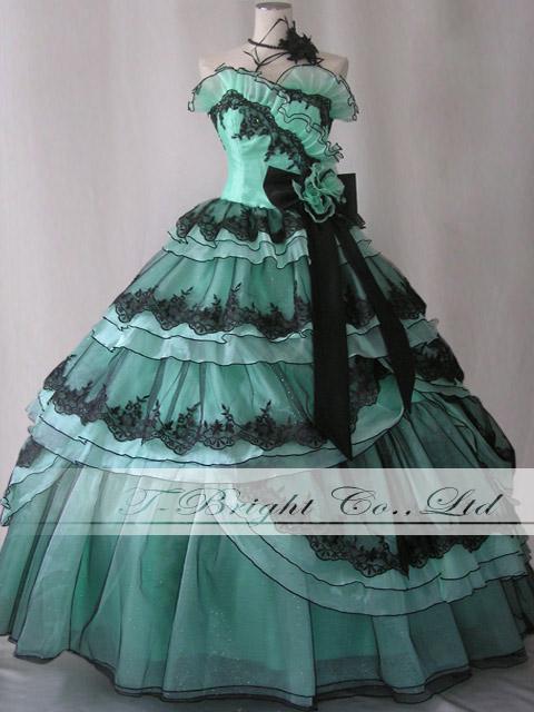 Lovely custom dress back lace-up West Kosuge Ribbon is ♪ dress ★ Princess ★ Green / Black ★ 02140-0