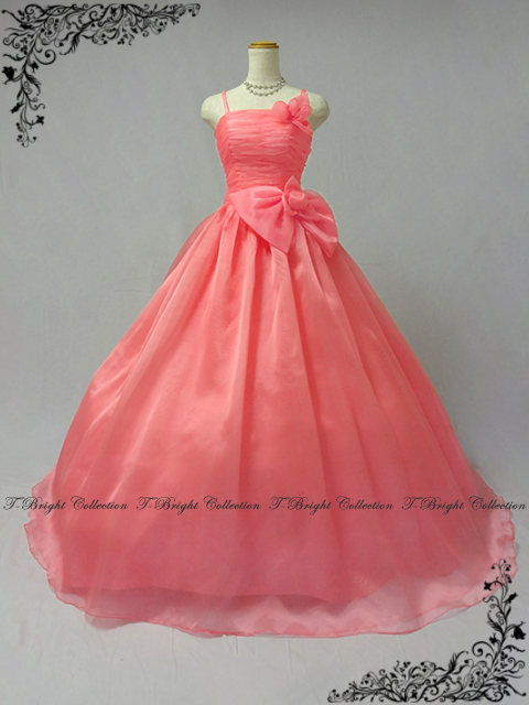 Colored racesless coral pink 9-11 princess line back laceup ♪ big ribbon is accent G2293cp