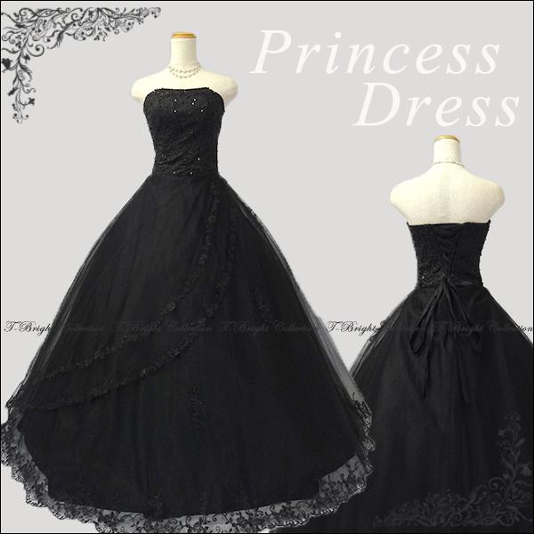 サイズオーダー カラードレス ブラック プリンセスライン 胸元スパンコールがキラキラ綺麗なロングドレス tb52953bk