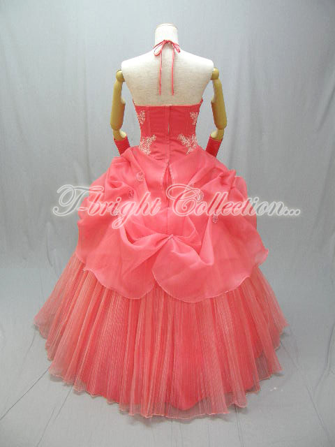Halter sizes ♪ 51656 preetsuorganzy cocktail dress ★ Princess ★ (salmon pink)